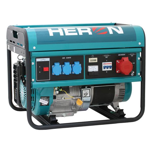 HERON EGM-60 AVR-3 Benzinmotoros áramfejlesztő, generátor, 1 fázis 2,2 kVA, 3 fázis 6 kVA