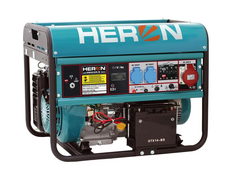 HERON EGM-68 AVR-3E Benzinmotoros áramfejlesztő, generátor, 3 fázis 6,5 kVA