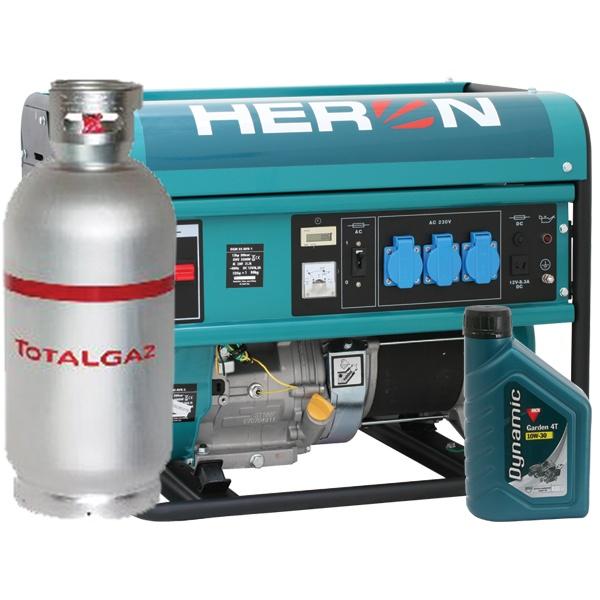 HERON benzin-gázmotoros GM-55/48 AVR-1G áramfejlesztő, 1fázis 5,5 kVA
