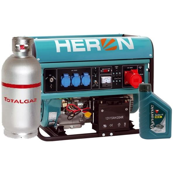 Heron benzin-gázmotoros EGM-68 AVR-3EG áramfejlesztő, 3 fázis 6,8 kVA ,önindítós