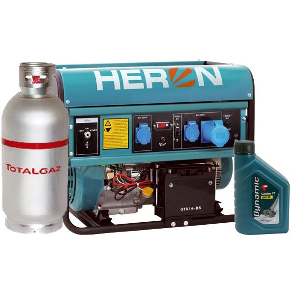 Heron benzin-gáz motoros EGM-68/55 AVR-1EG áramfejlesztő, 1 fázis 6,8 kVA , önindítós