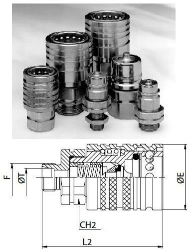Hidraulikus gyorscsatlakozó hüvely 22x1,5 külső menetes