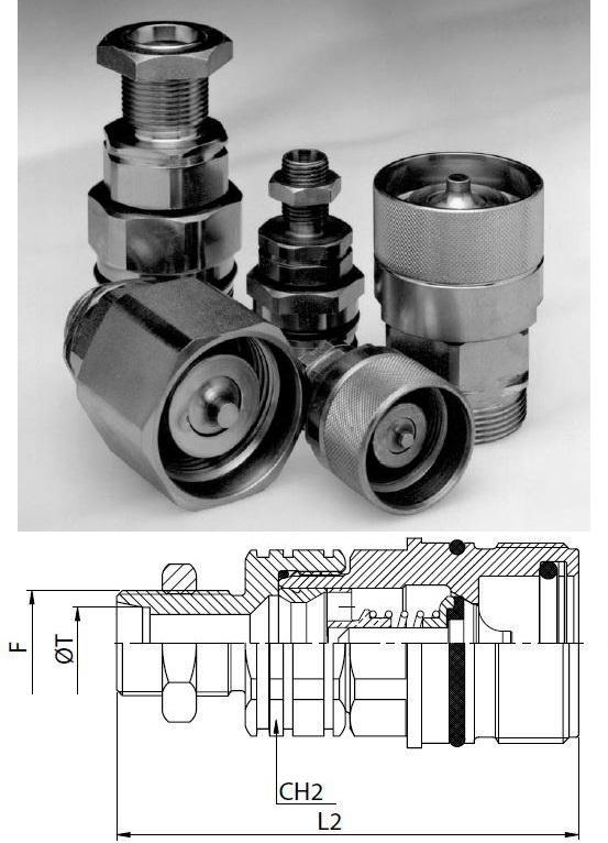 Hidraulikus menetes gyorscsatlakozó hüvely M30*2 külső menet L22