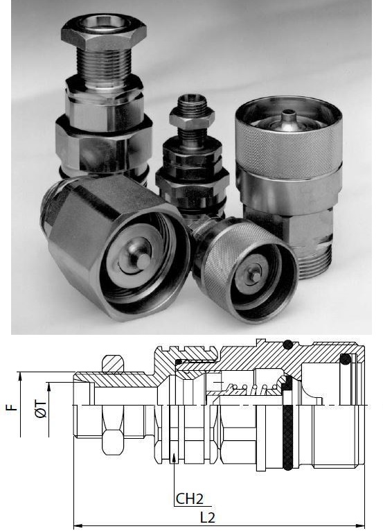Hidraulikus menetes gyorscsatlakozó hüvely M36*2 külső menet