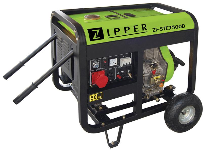 Zipper ZI-STE7500D dízelmotoros áramfejlesztő, aggregátor , 3 fázis 7 kVA
