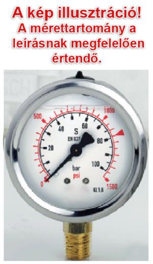 10 bar-os manométer, nyomásmérő óra, glicerin csillapítással, D=63mm, 1/4